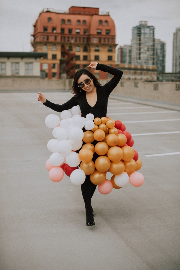 Posing with my balloon skirt for my  25th ultimate birthday checklist