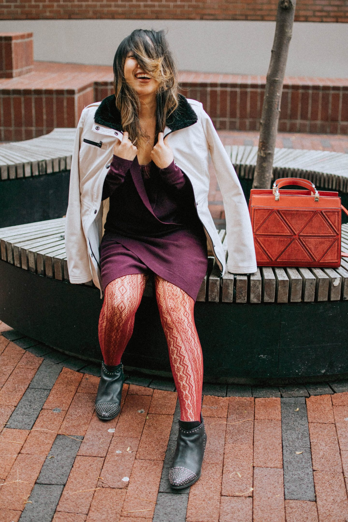 Fall trends to try: Fishnet Stockings paired with my burgundy dress