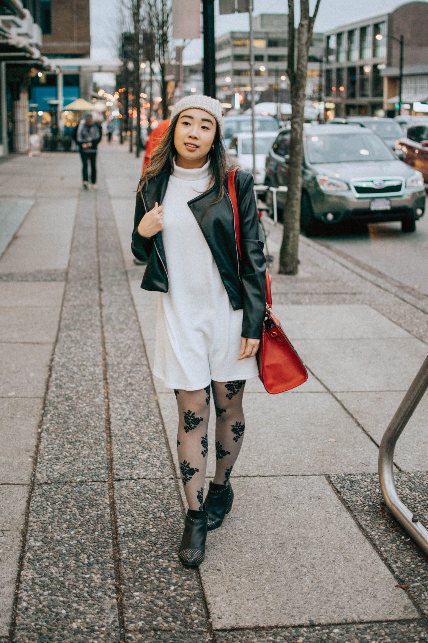 Fall trends to try: Leather Jacket Layering paired with my toque and grey dress