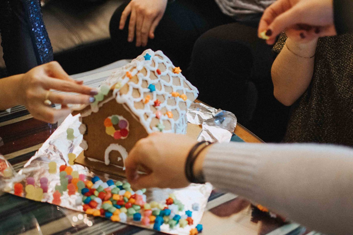 Building gingerbread houses for our 24 Hour Holiday Party Challenge with WINNERS and Marshalls