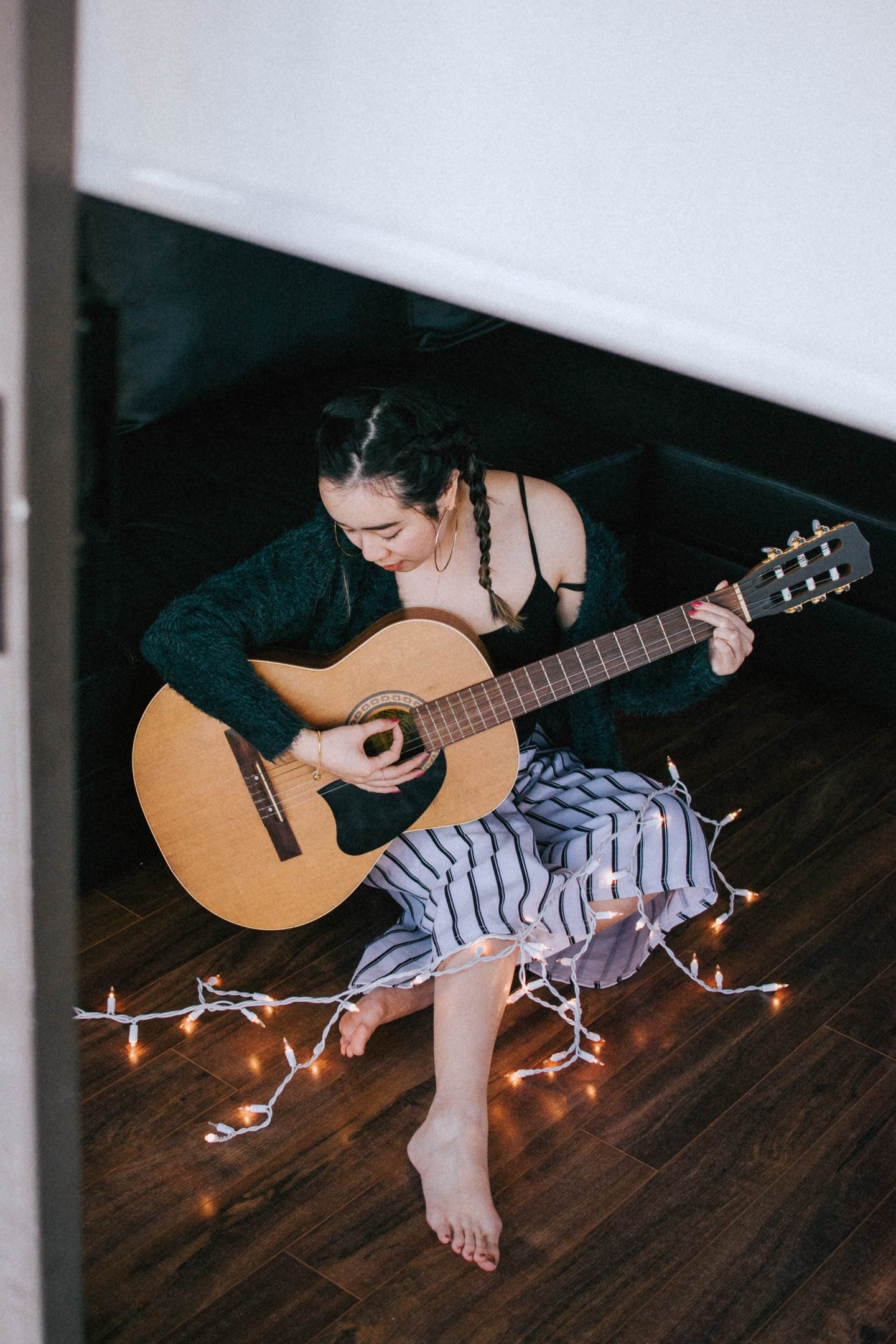 Playing the guitar and making music is one of the ways I practice positivity and self care