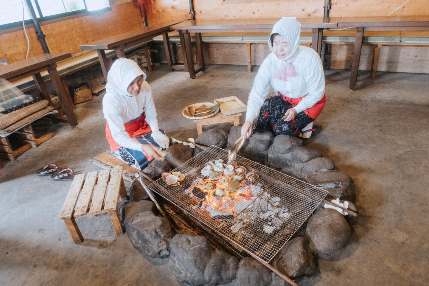 Visiting the Ama Divers in Hachiman Hut in Mie Central Japan catching fresh seafood