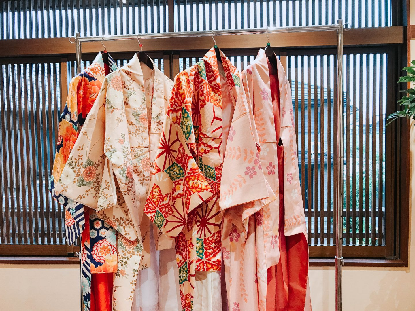 Different styles of silk Kimonos from Nishio Central Japan