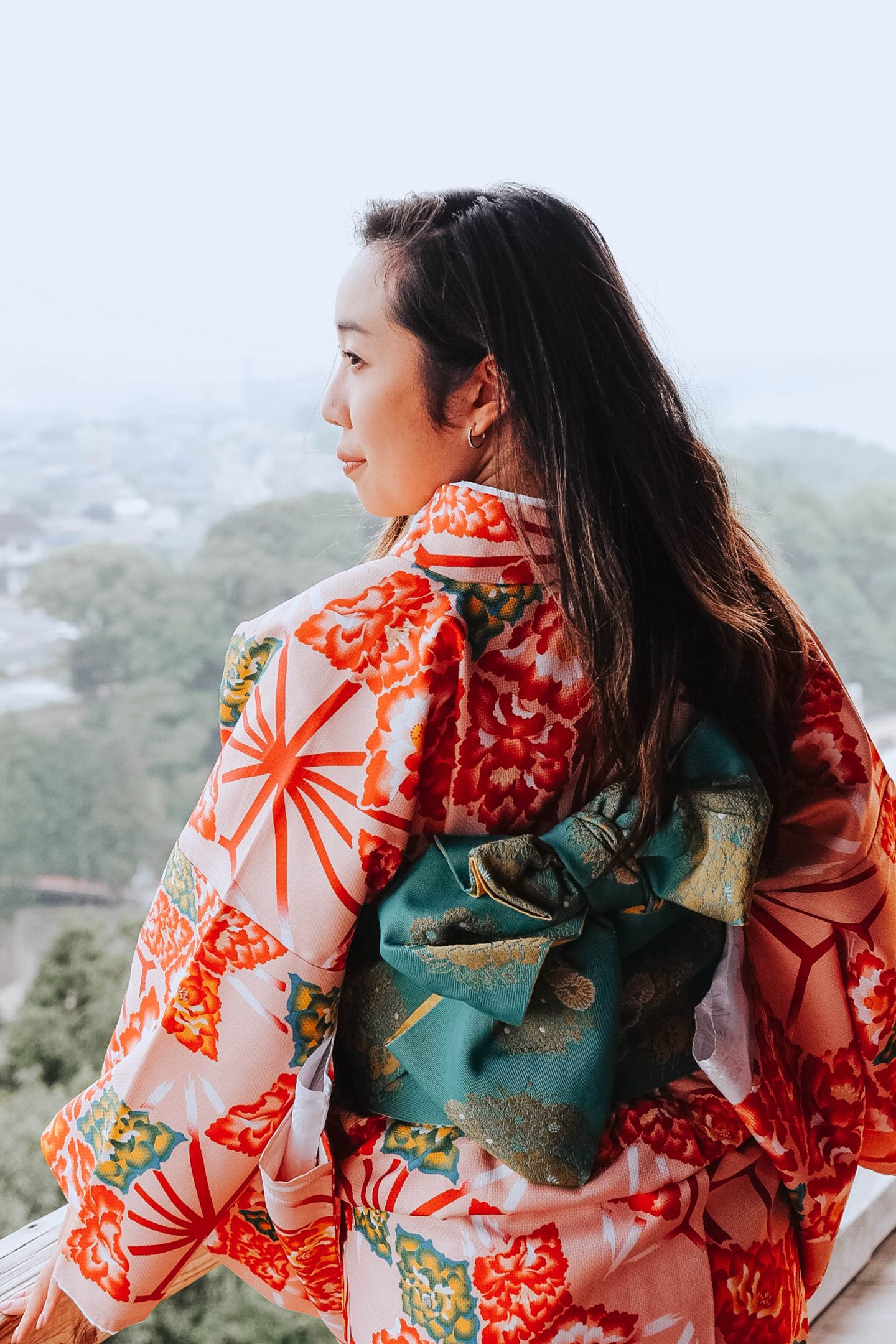 Trying on silk kimonos from Nishio in central japan