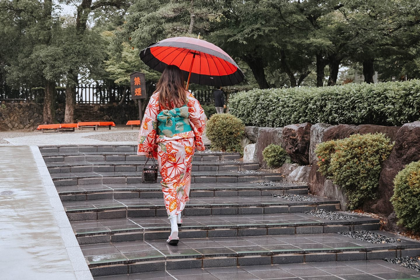 Climbing up the stairs to the top of Japan's National Treasure- The Inuyama Castle in Nishio Central Japan with silk kimonos