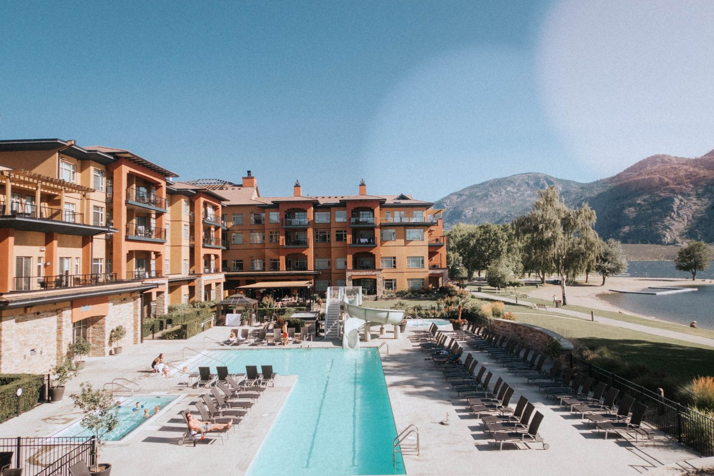 View of the pool and courtyard of The Watermark Resort in Osoyoos BC in the Okanagan