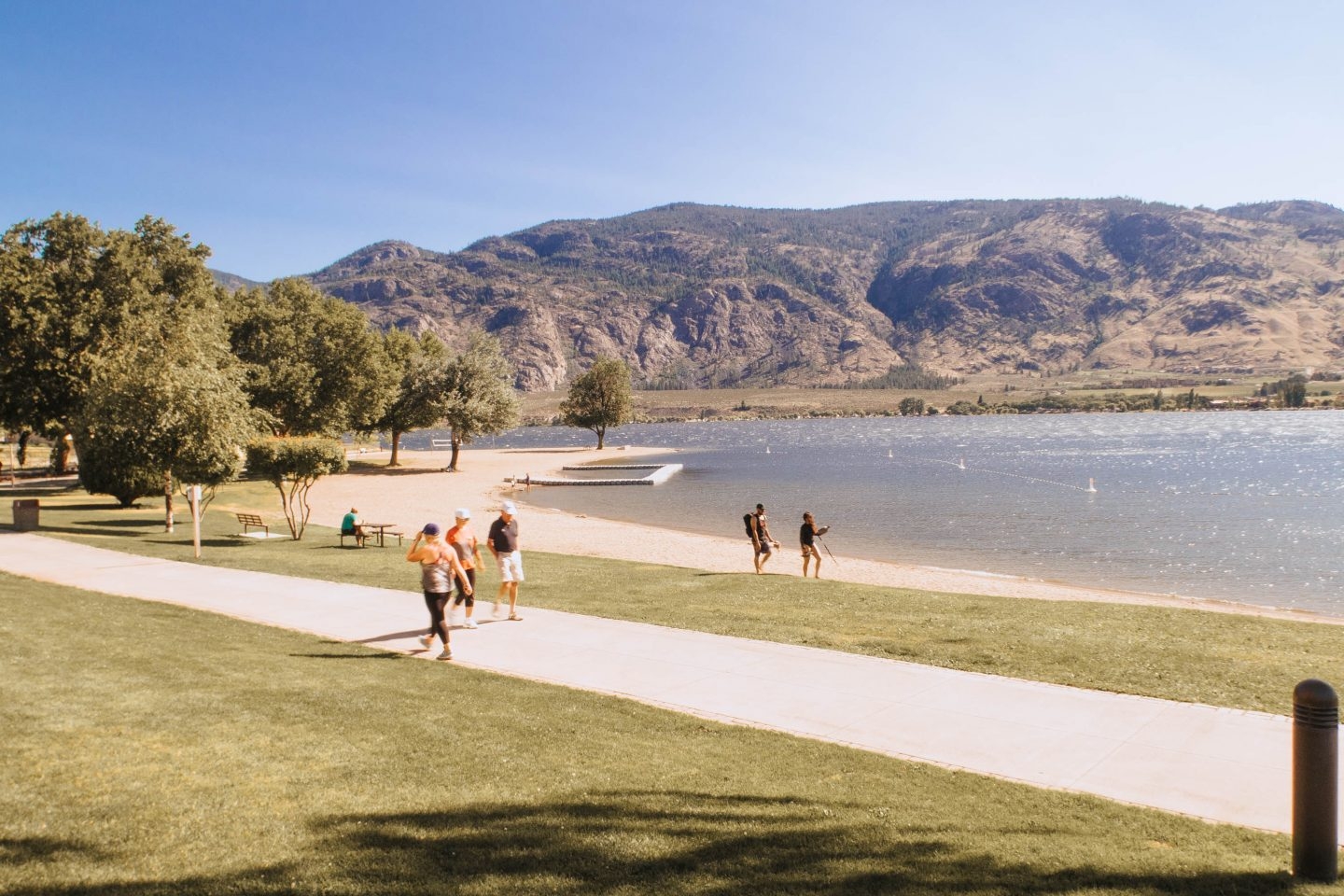 Beautiful beach and mountain views from The Watermark Resort in Osoyoos BC Okanagan