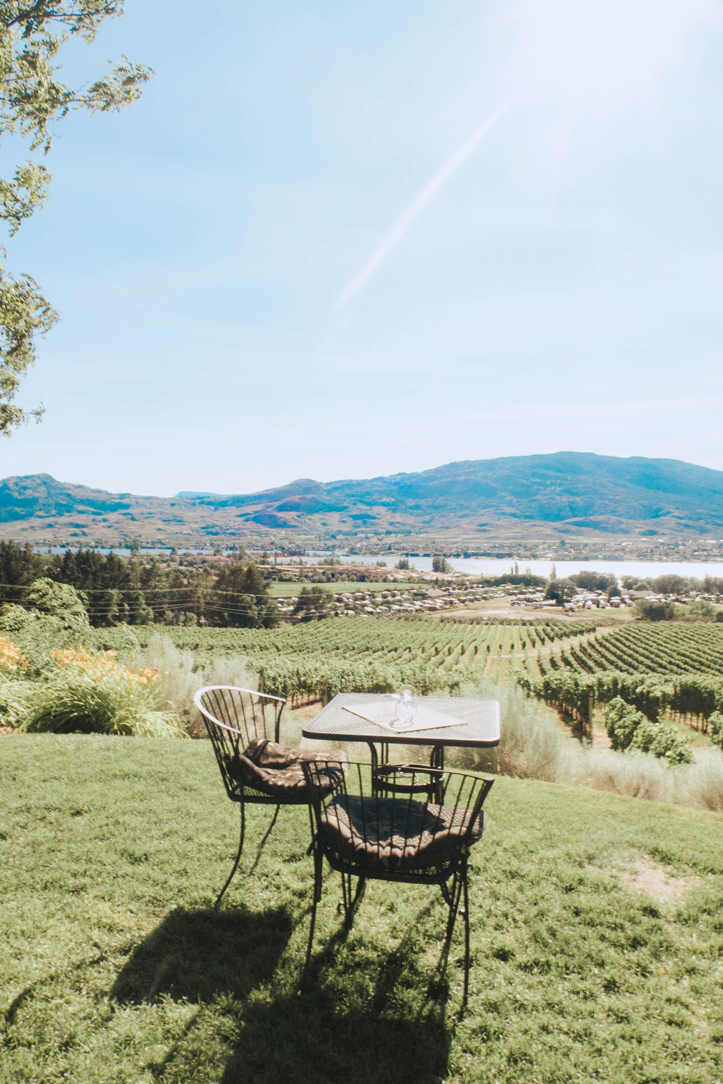The incredible outdoor view at NK'MIP Cellars and Sunset Lounge