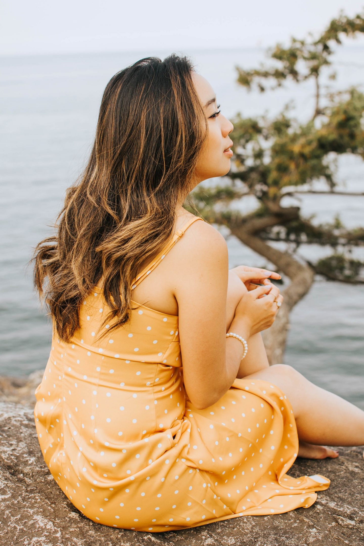 Up close shot of my yellow dress I wore to Lighthouse Park in Vancouver BC