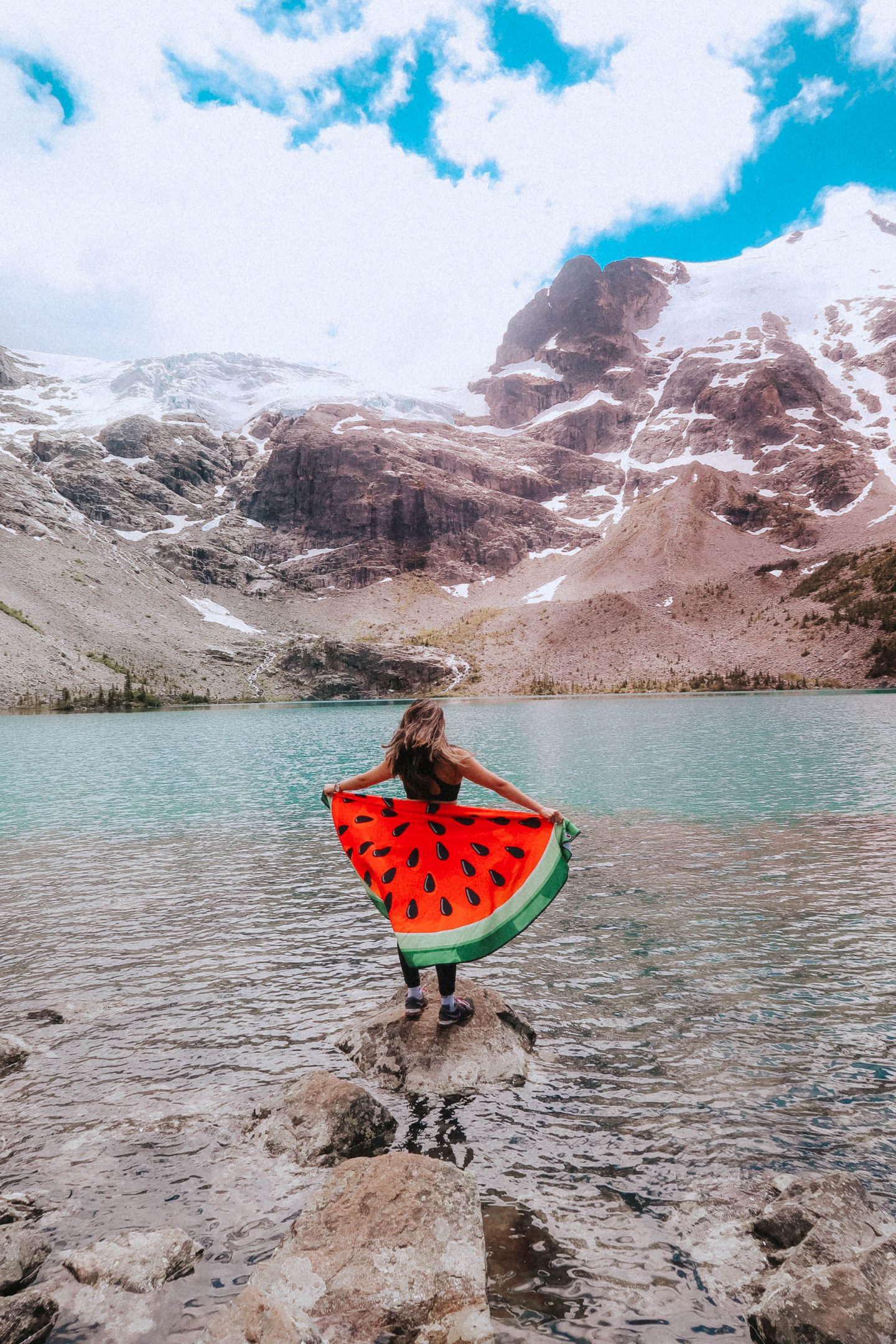 Gorgeous View of Joffre Lake and the mountains with my watermelon blanket