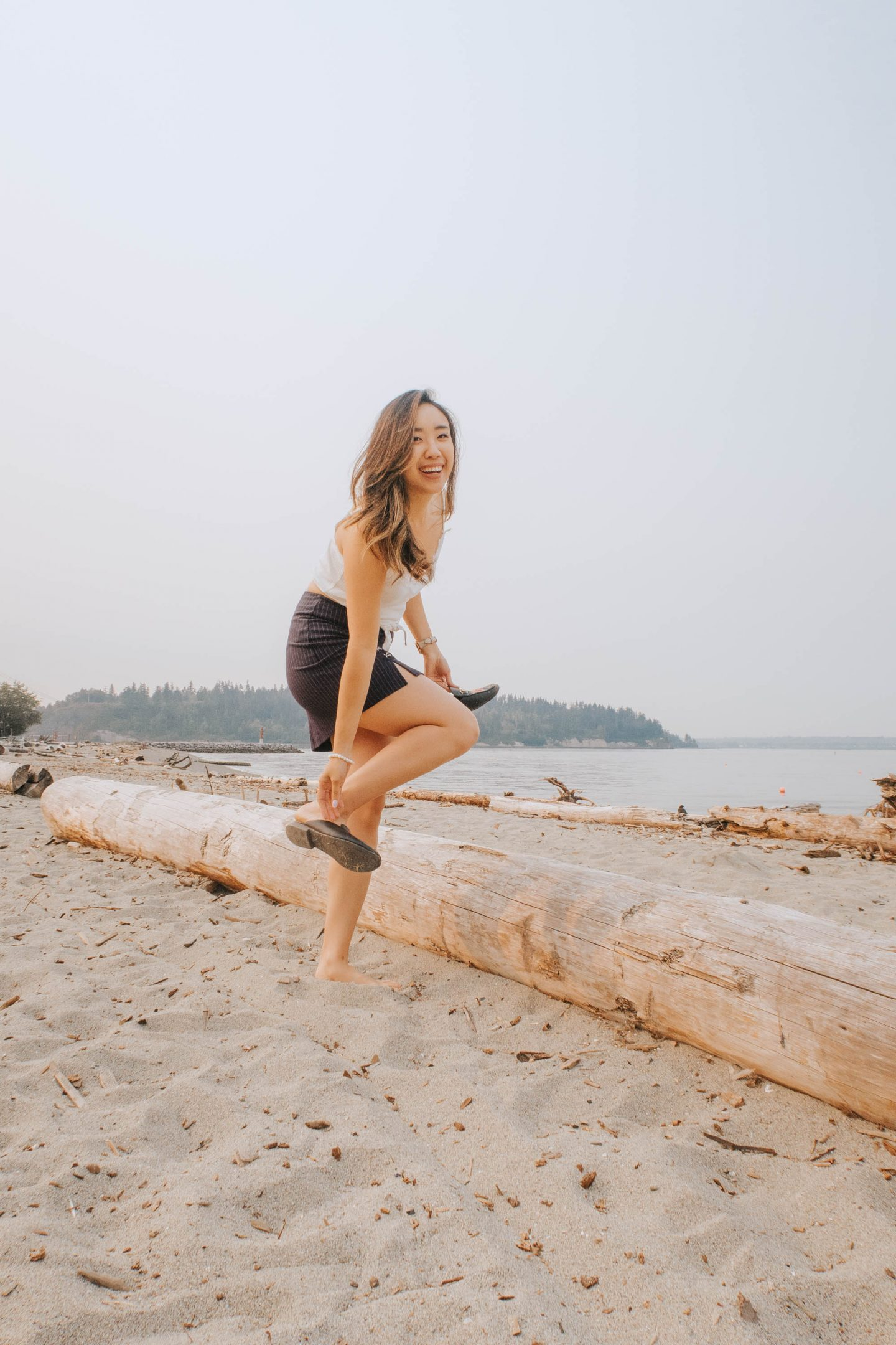 Taking off my shoes to run across one of Vancouver BC beaches that reminds me of Hawaii