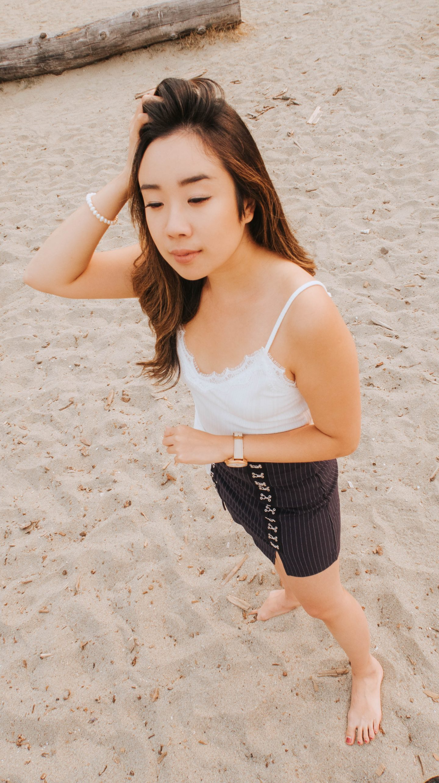 Posing on a beach in Vancouver BC that reminds me of Hawaii