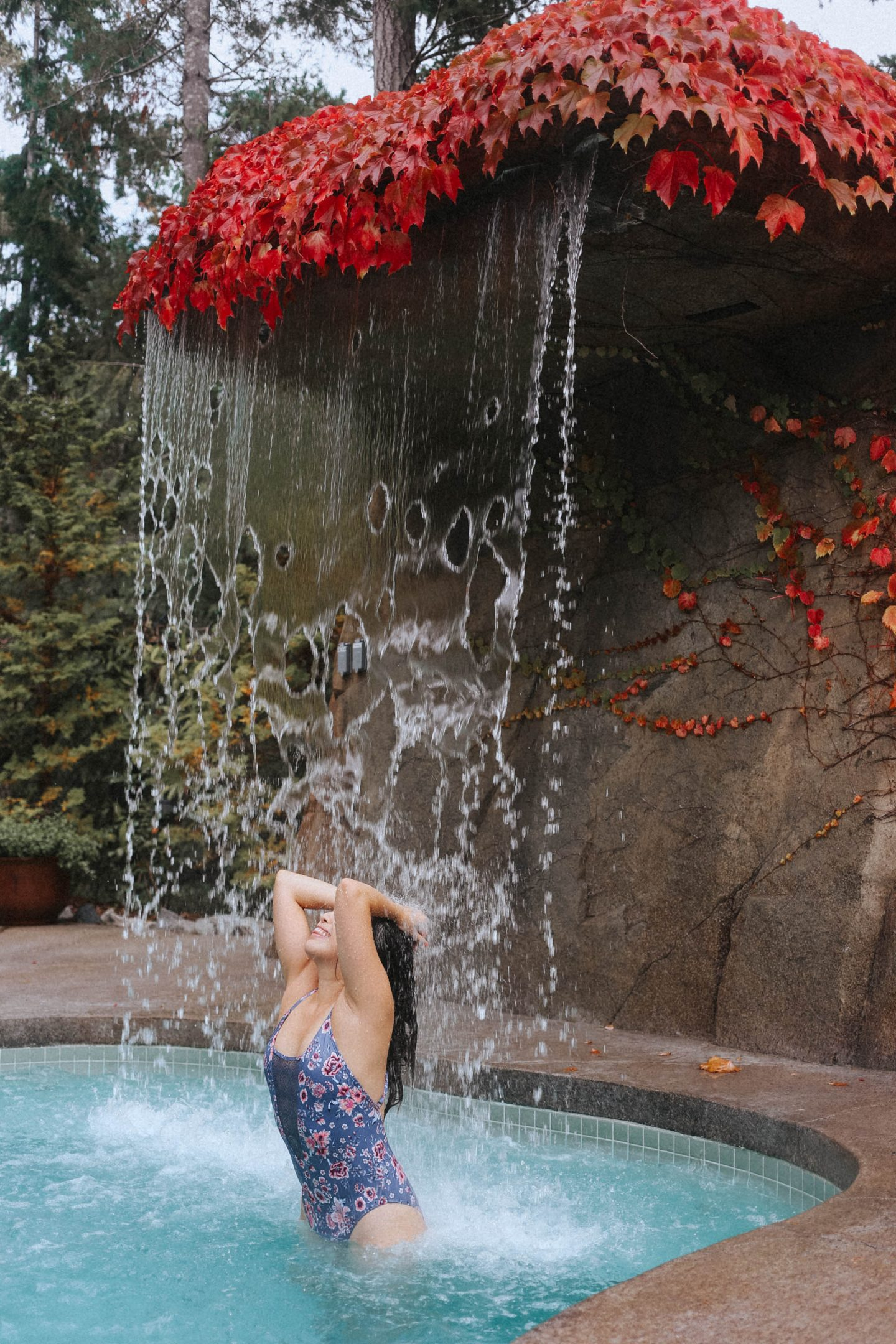The hot tub with a rainfall feature at The Spa at the Painted Boat Resort on the Sunshine Coast BC