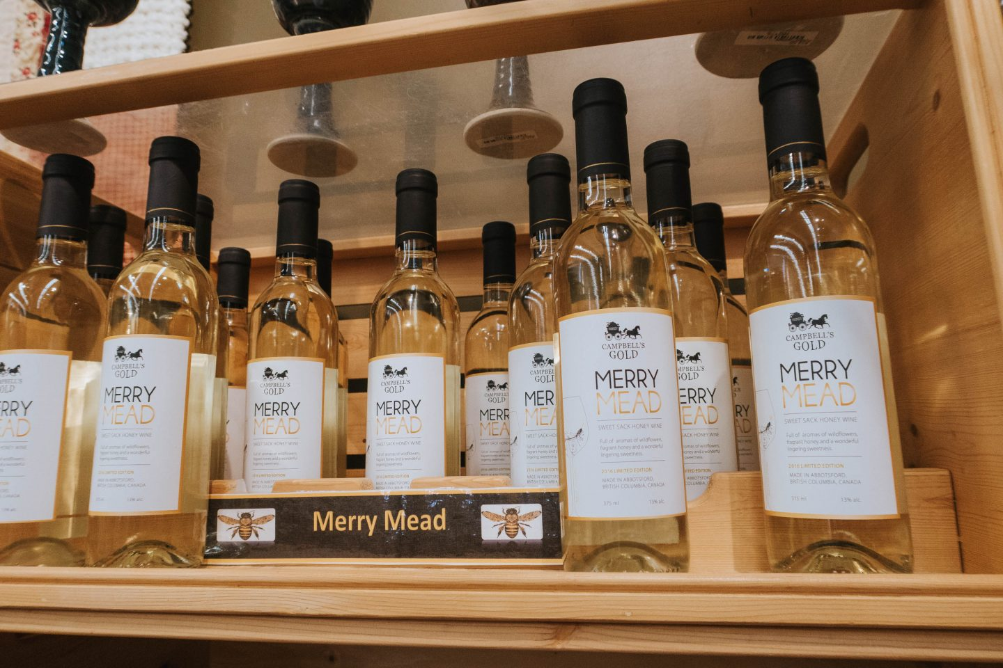 Merry Mead honey wine at Campbell's Gold and Honey Meadery