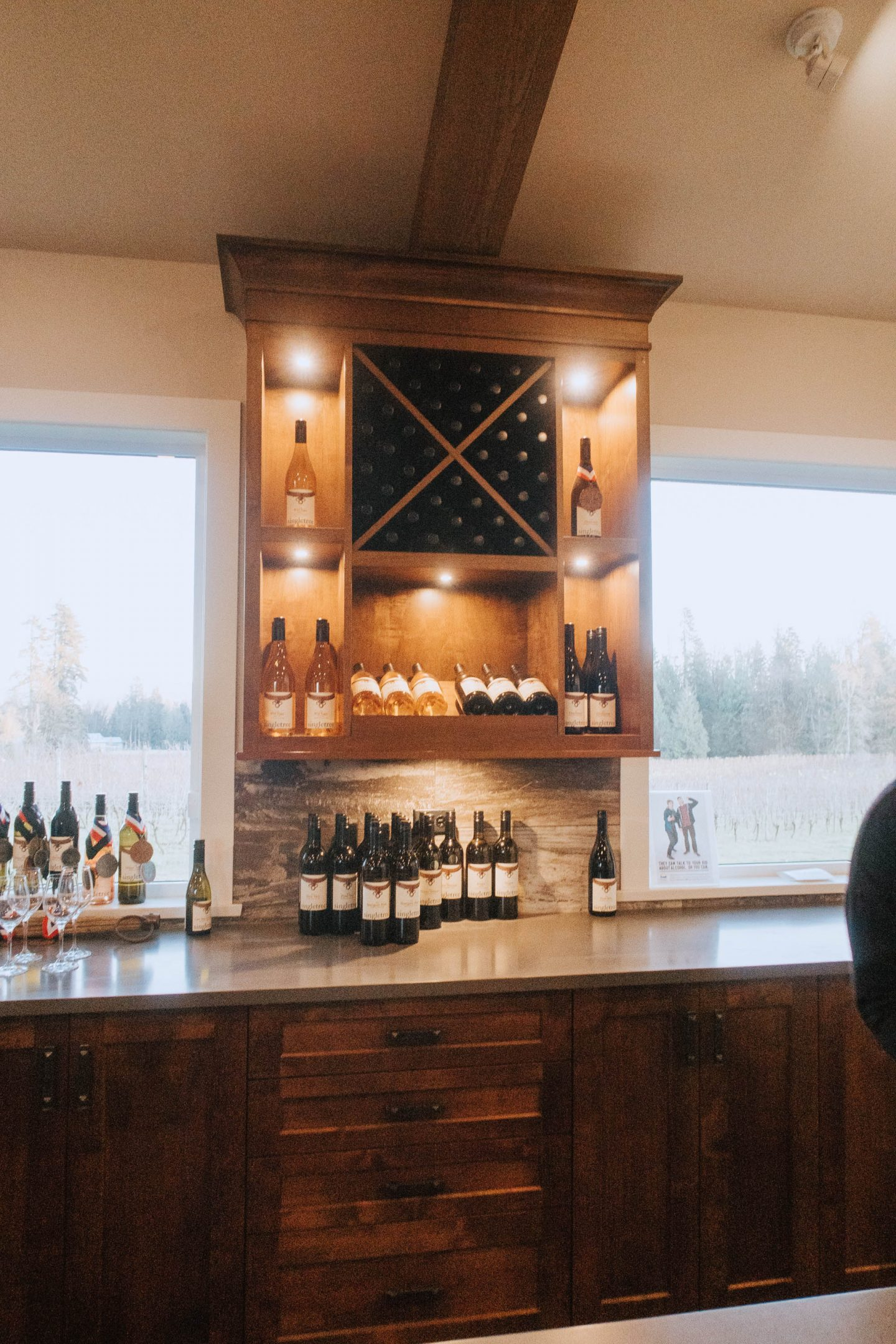Wine display at Singletree Winery in Abbotsford