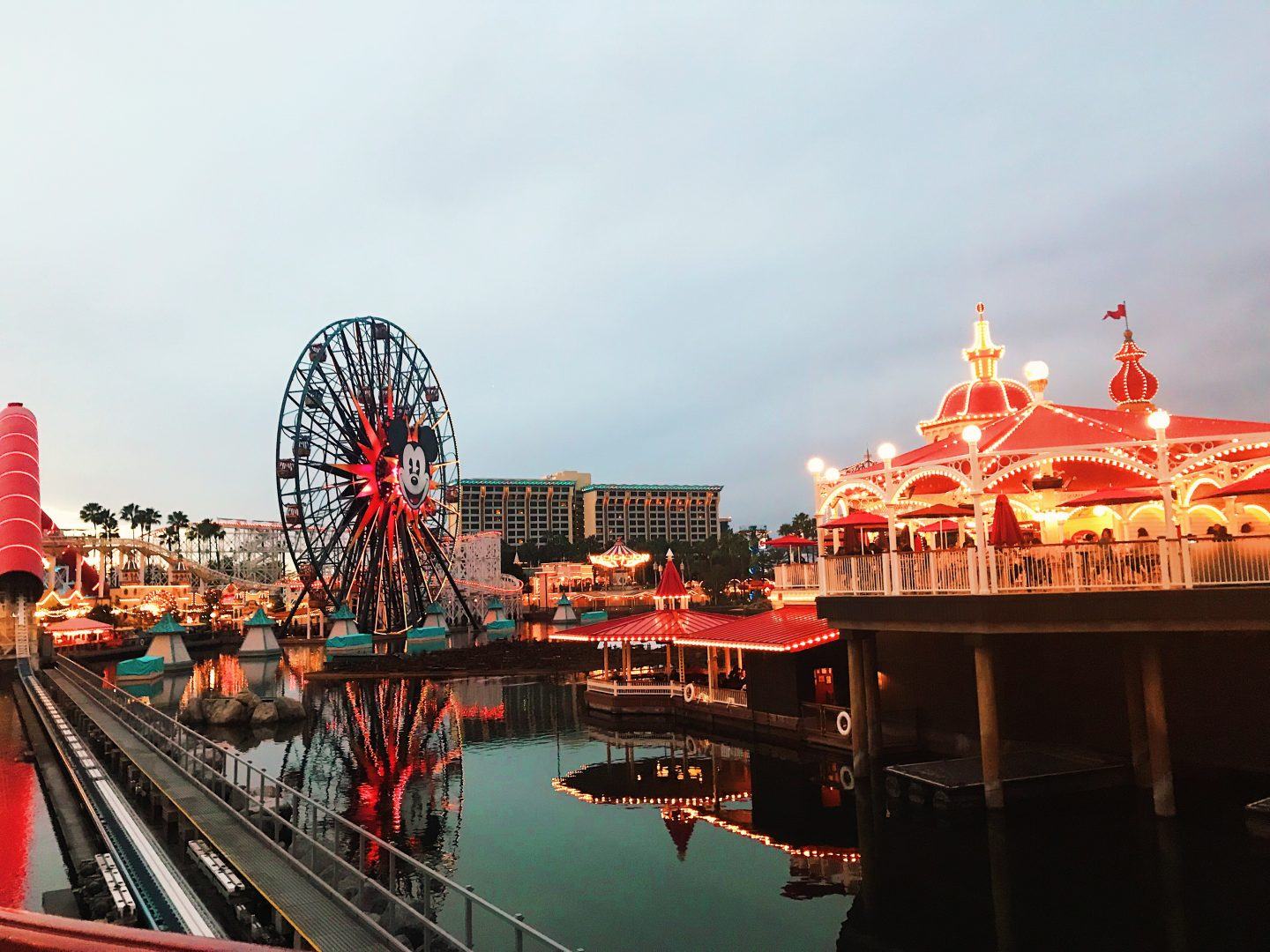 Sunset view of the Disneyland Pier in Los Angeles