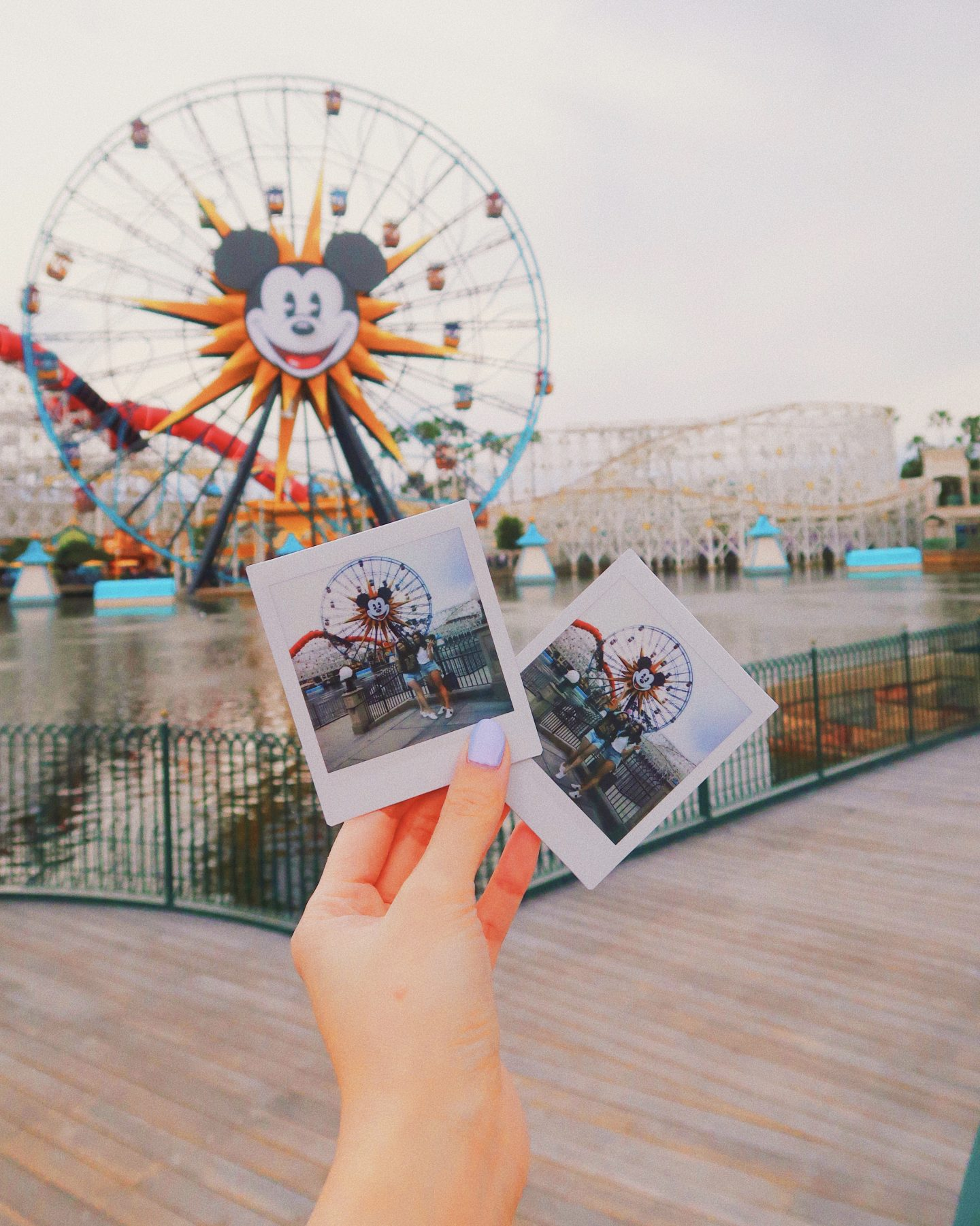 Taking Polaroids at the Disneyland Pier in Los Angeles