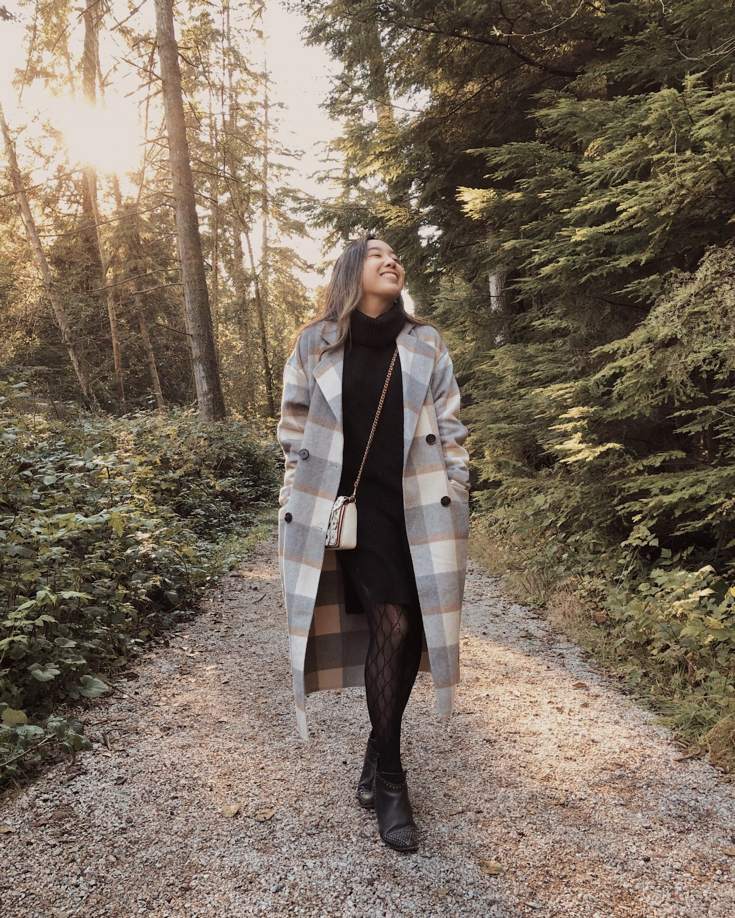 Strolling through the forest in the fall with my plaid jacket