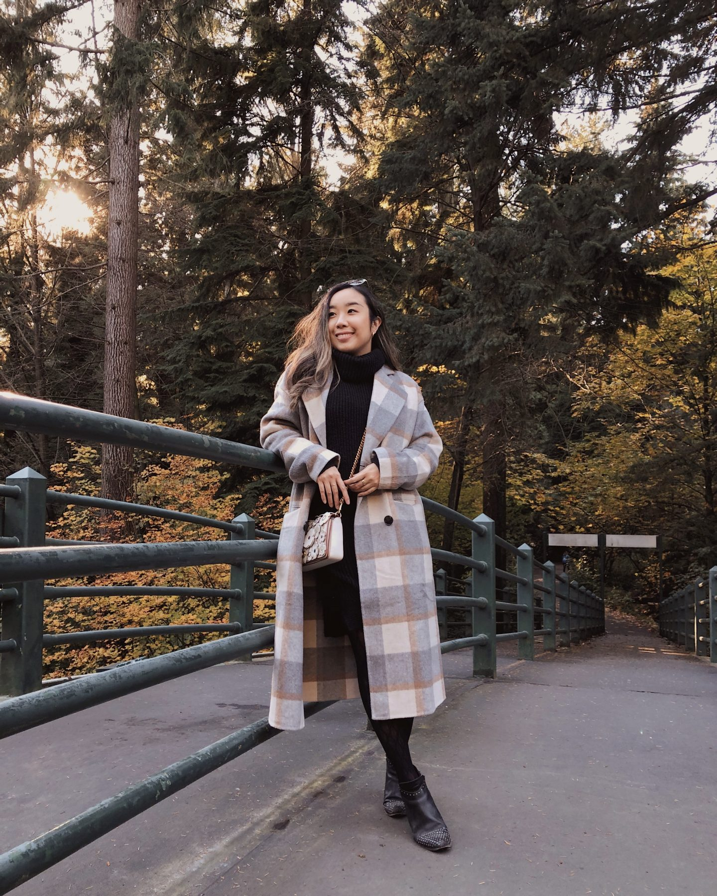 A crisp walk in the fall with my favourite plaid coat and black dress