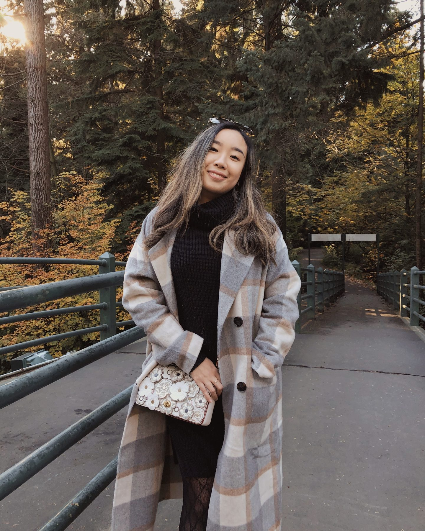 Watching the fall colours change with my plaid blazer coat
