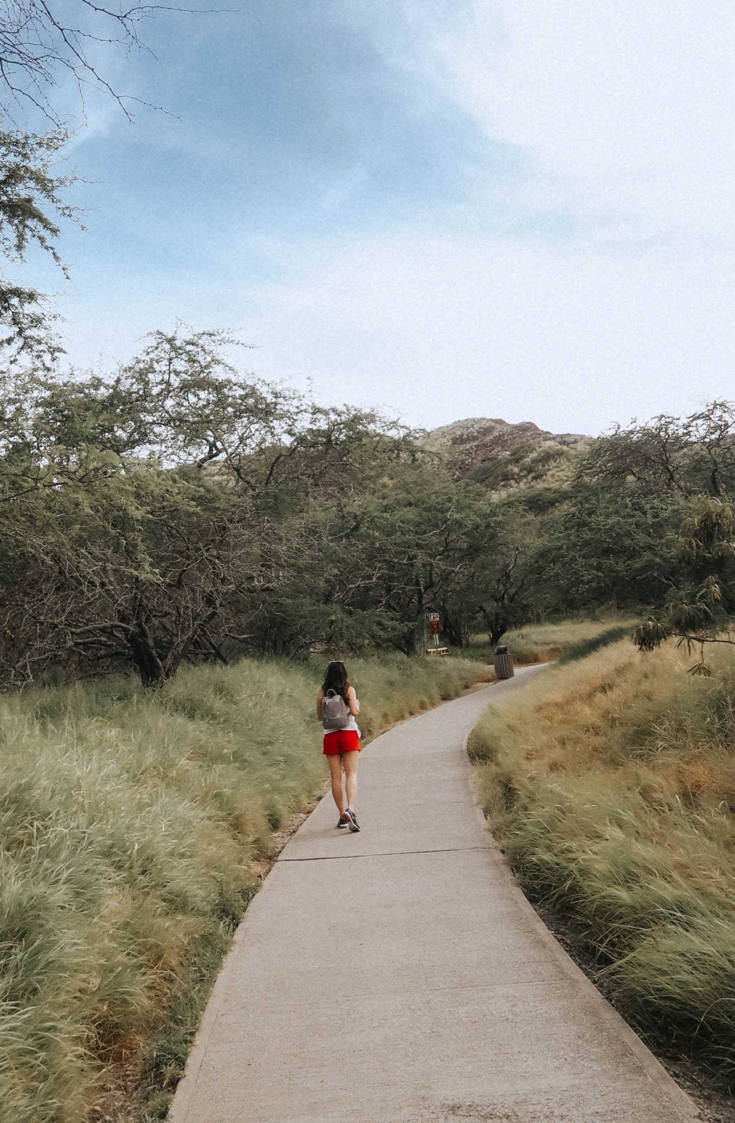 Strolling on the Diamond Head Trail in Oahu North Shore Hawaii
