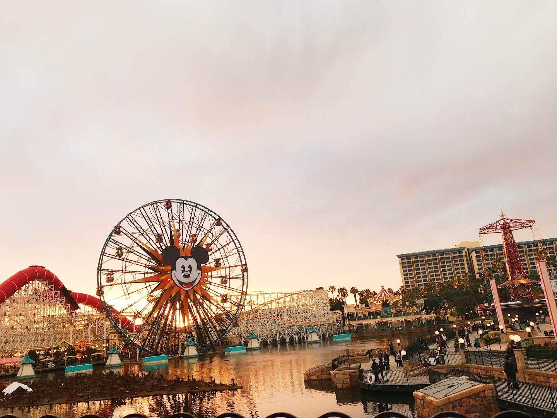 Sunset view of Disneyland Pier in Los Angeles