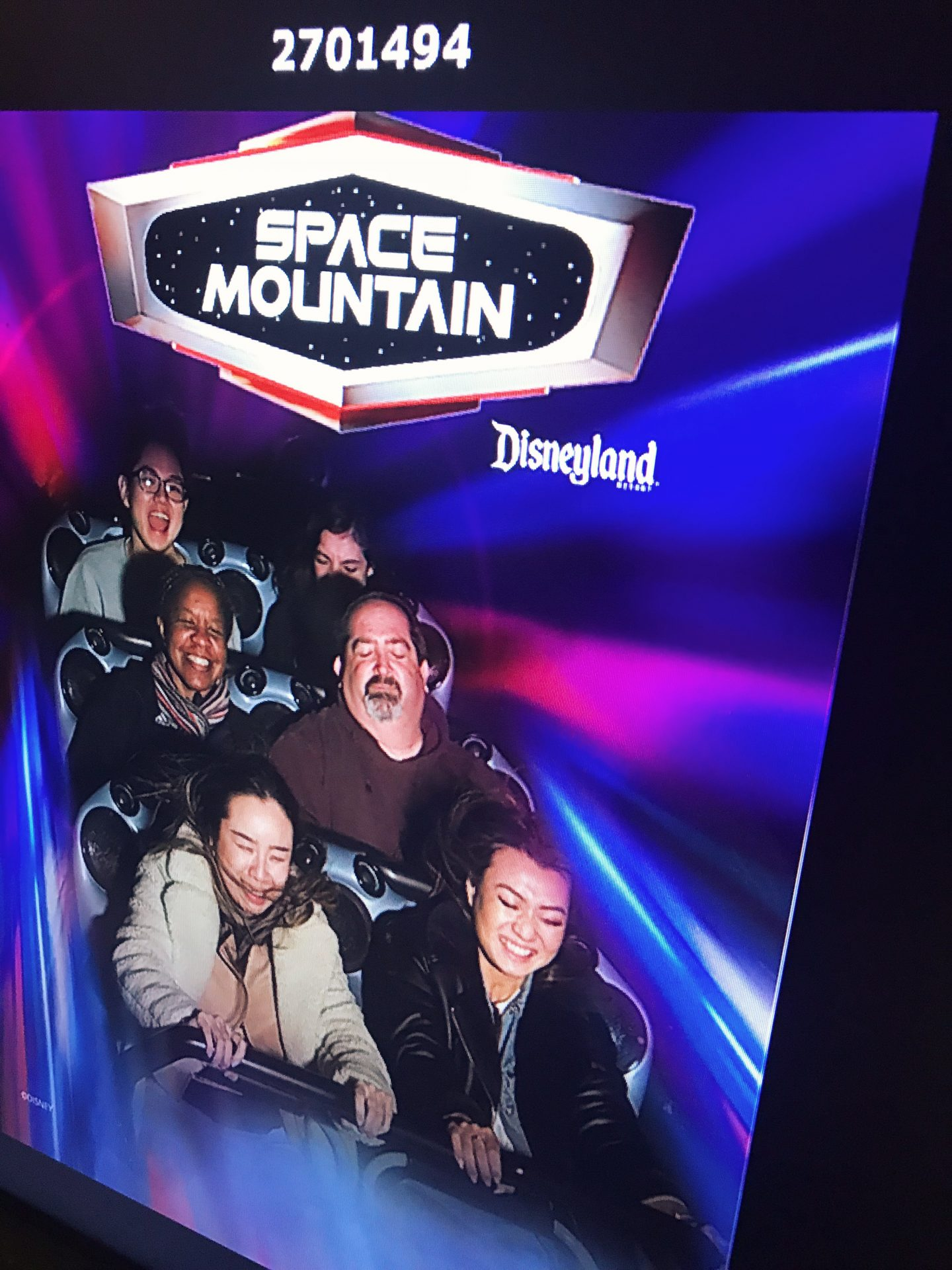 Riding Space Mountain at Disneyland in Los Angeles