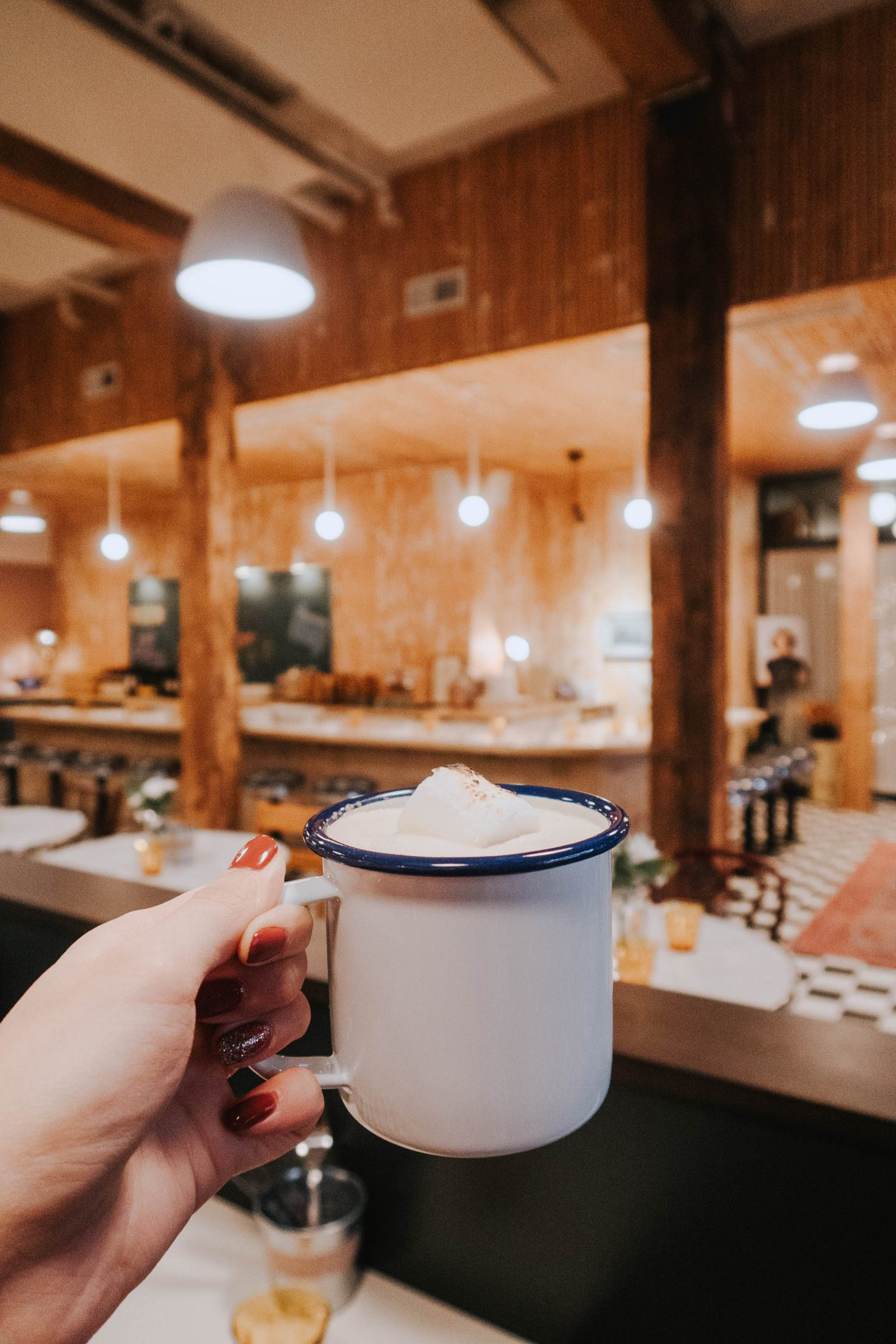 Delicious hot chocolate at a local Seattle cafe