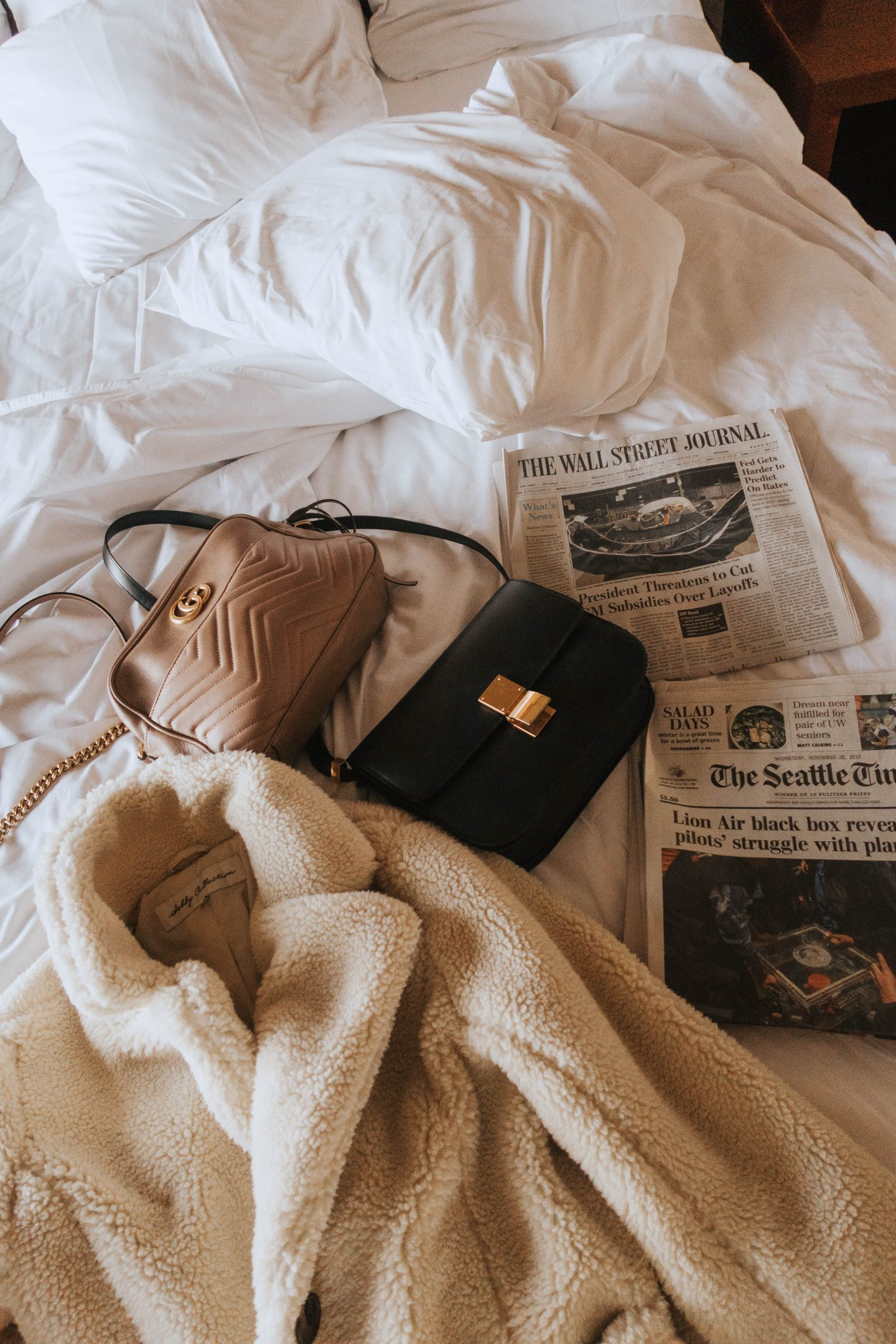 Flatlay of my outfit of the day in Seattle